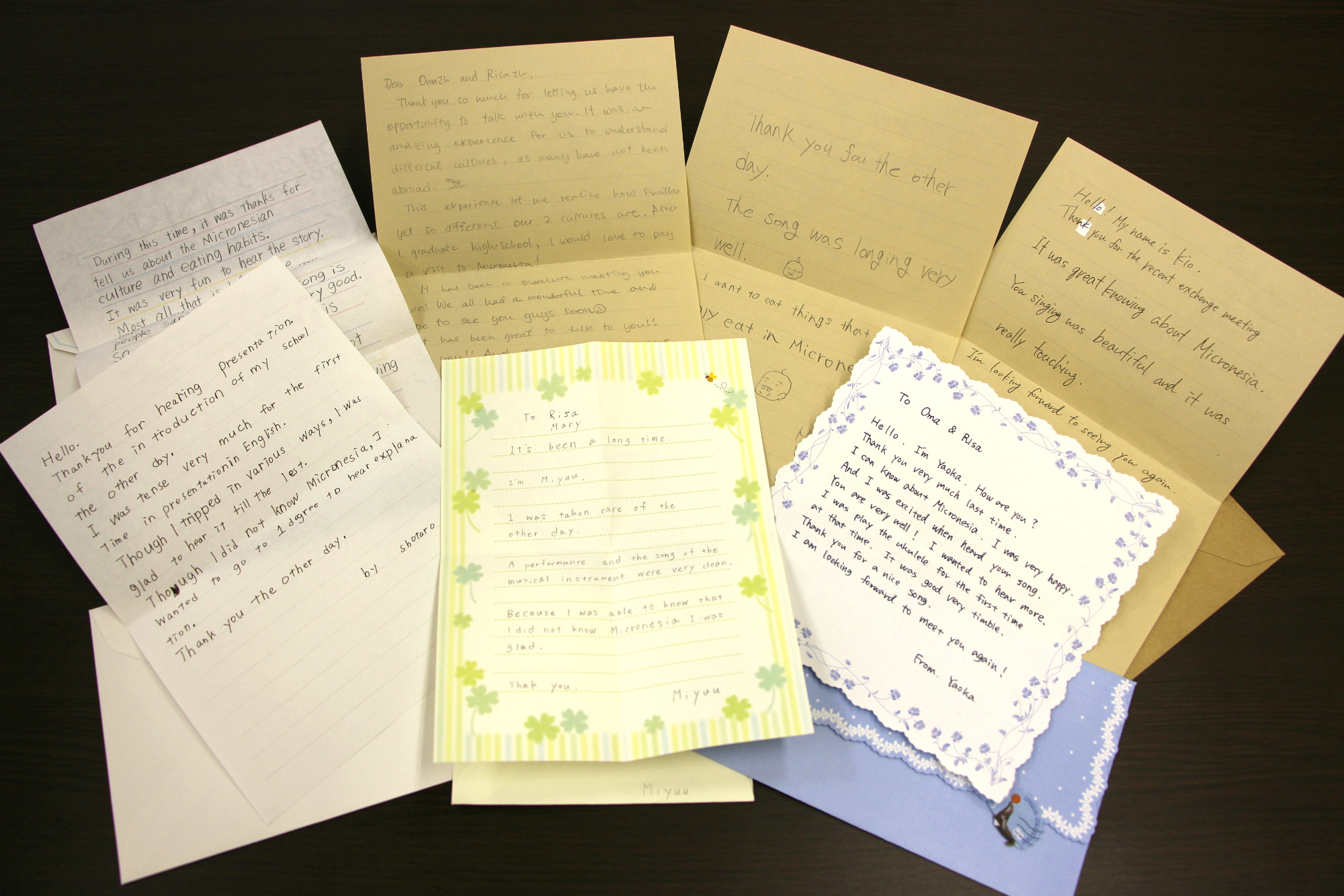 Thank-you Letters from Students at Shotoku Gakuen Junior and Senior High School